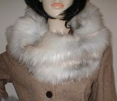 Snow Wolf Faux Fur Cowl/ Neck Warmer