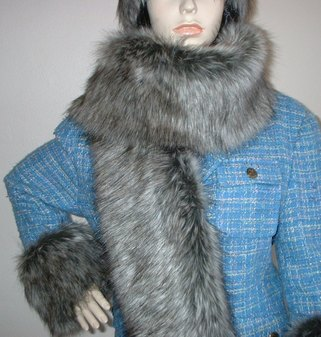 Timber Wolf Faux Fur Scarf