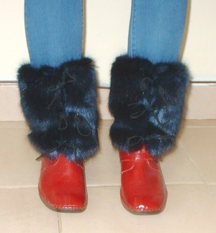 Midnight Navy Blue Faux Fur Boot Wraps