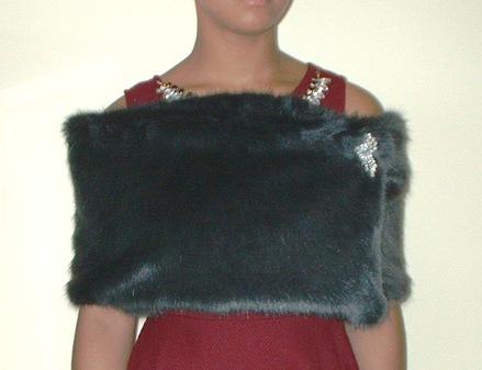 Charcoal Mink Faux Fur Flapper