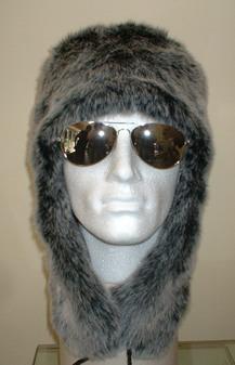 Arctic Wolf Faux Fur Trapper Hat
