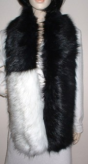 Two Tone Scarf with Black Bear and Alaska Faux Fur