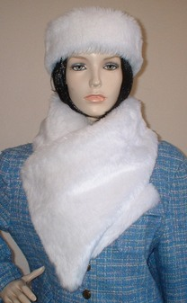 Snow White Faux Fur Vintage Asymmetric Scarf
