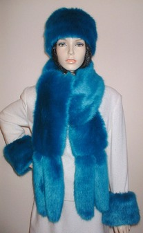 Azure Blue Faux Fur Tail Scarf