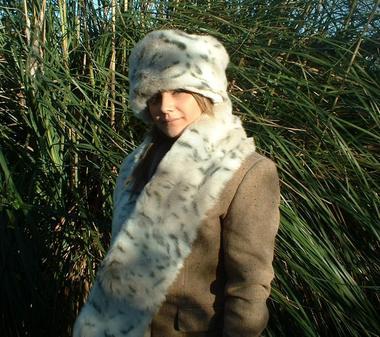 Snow Lynx Faux Fur Scarf