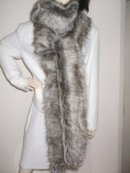 Timber Wolf Faux Fur Super Long Scarf