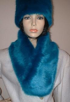 Azure Blue Faux Fur Neck Scarf