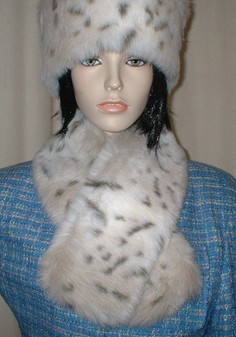 Snow Lynx Faux Fur Neck Scarf