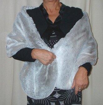Silver Sable Faux Fur Stole