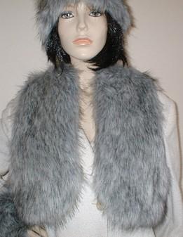 Silver Musquash Faux Fur Bolero Waistcoat