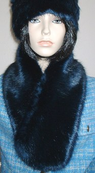 Midnight Navy Blue Faux Fur Neck Scarf