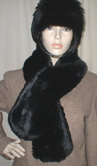 Black Mink Faux Fur Pull Through Scarf