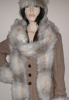 Snow Wolf Faux Fur Super Long Scarf