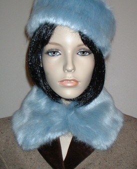 Powder Blue Faux Fur Collar