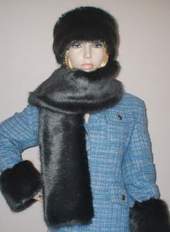 Charcoal Mink Faux Fur Scarf