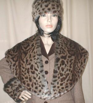 Ocelot Faux Fur Shawl Collar
