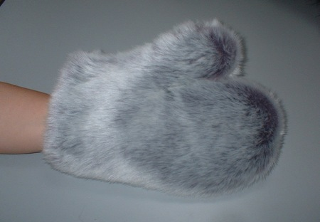 Silver Lavender Fox Faux Fur Massage Mitt