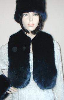 Midnight Navy Blue Faux Fur Bolero/Waistcoat