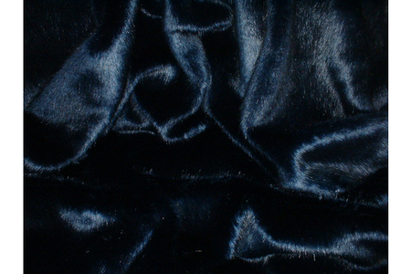 Midnight Navy Blue Faux Fur Long Coat