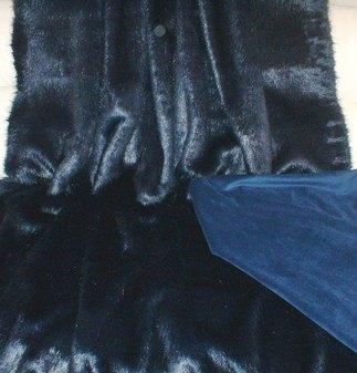 Midnight Navy Blue Faux Fur Throw
