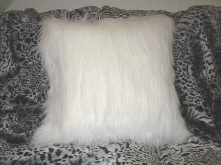Polar Bear Faux Fur Cushion 20 x 20 inches. 51 x 51 cm