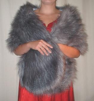 Siberian Wolf Faux Fur Stole
