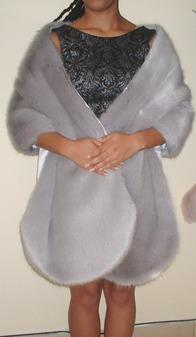 Silver Mink Faux Fur Long Stole