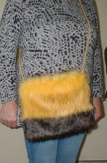 Sunflower and Brown Bear Faux Fur Shoulder Bag