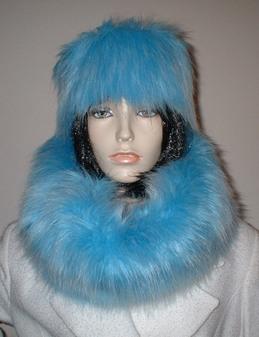 Sky Blue Faux Fur Cowl/Neck Warmer