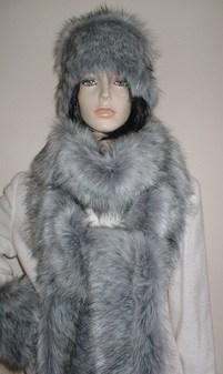 Silver Musquash Faux Fur Super Long Scarf