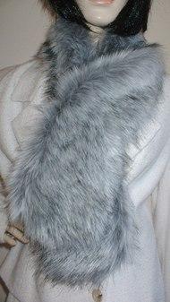 Silver Musquash Faux Fur Pull Through Scarf