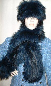 Midnight Blue Faux Fur Pull Through Scarf