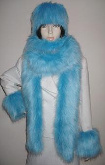 Sky Blue Faux Fur Super Long Scarf