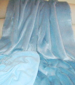 Powder Blue Faux Fur Throw
