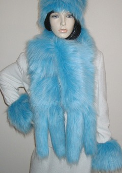 Sky Blue Faux Fur Tail Scarf