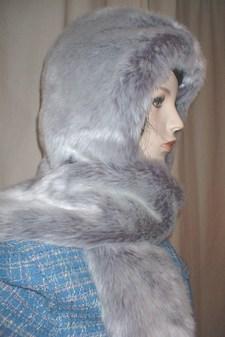 Silver Lavender Fox Faux Fur Hoodie