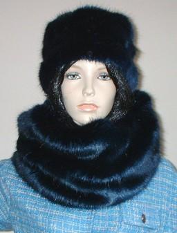 Midnight Navy Blue Faux Fur Cowl