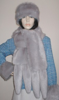 Silver Mink Faux Fur Tail Scarf