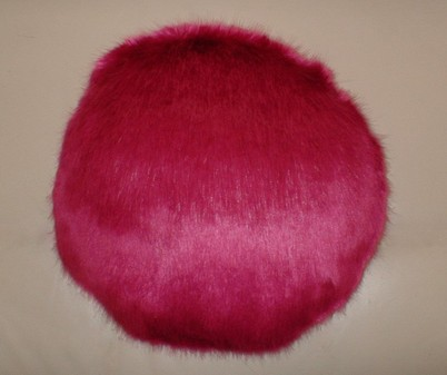 Hot Pink Mink Faux Fur Both Sides Round Cushion