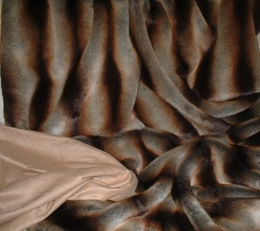 Golden Brown Chinchilla Faux Fur Throw with Tan Faux Suede
