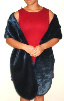 Midnight Navy Blue Faux Fur Slim Stole