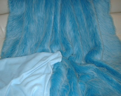 Sky Blue Faux Fur Throw