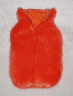 Coral Faux Fur Hot Water Bottle Cover