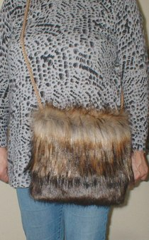 Simba and Brown Bear Faux Fur Shoulder Bag