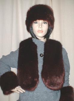 Burgundy Mink Faux Fur Bolero/Waistcoat