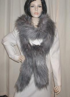 Siberian Wolf Faux Fur Super Long Scarf