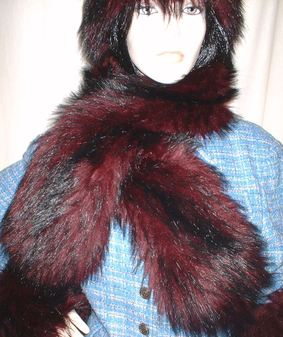 Tuscan Red Faux Fur Pull Through Scarf