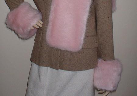 Raspberry Cream Mink Faux Fur Cuffs