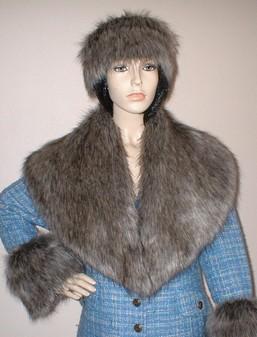 Timber Wolf Faux Fur Shawl Collar