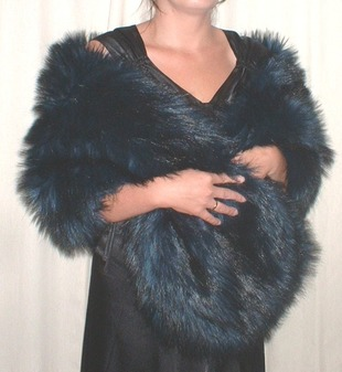 Midnight Blue Faux Fur Stole